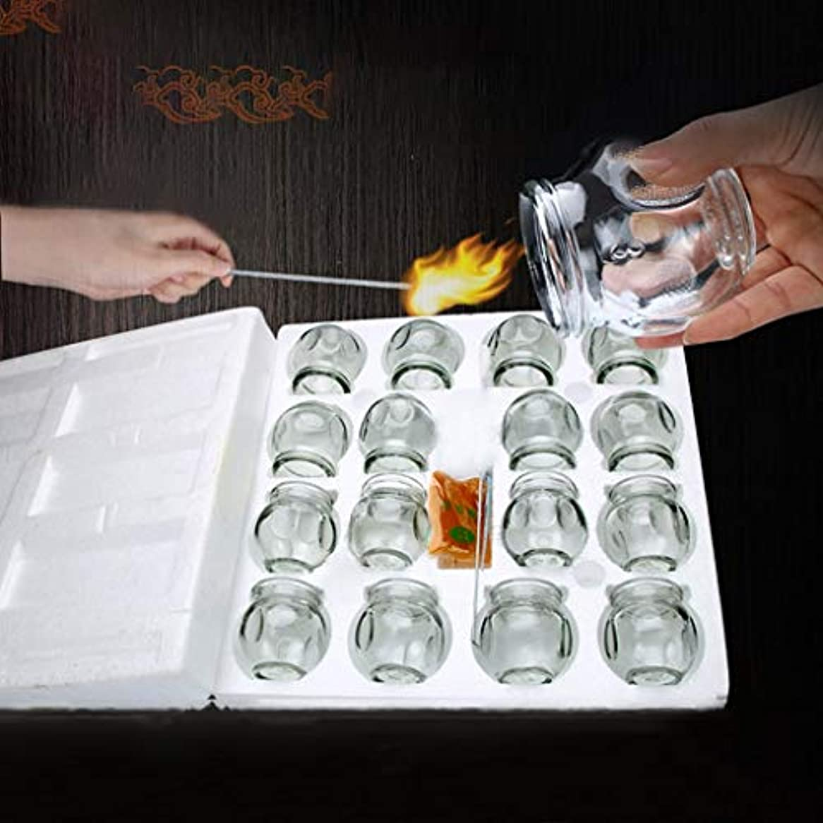 遠近法平均器官ガラス真空16個のプレミアム缶を持つデバイスをカッピング世帯は、痛みを軽減解毒マッサージ筋弛緩インストゥルメントのためのプルアウト