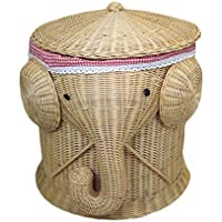 ランドリーバスケットクリエイティブラタン蓋付き汚れたハンパーコットンバーブライニング服雑貨保存バスケット、40 * 46センチメートル (色 : A)
