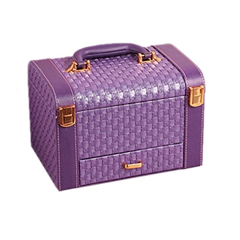 百年国籍道徳の化粧オーガナイザーバッグ 紫のポータブル化粧品ケース旅行のための美容メイクアップコンパートメントの小さなものの種類のための 化粧品ケース