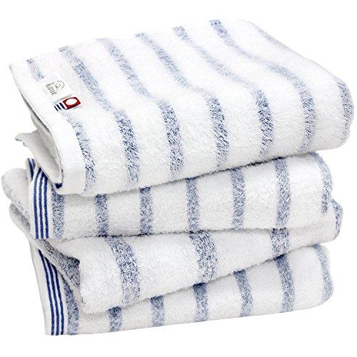 hiorie(ヒオリエ) 今治タオル 認定 mist ミスト フェイスタオル 4枚セット ブルー 日本製 透かし織 ボーダー 今治ブランド