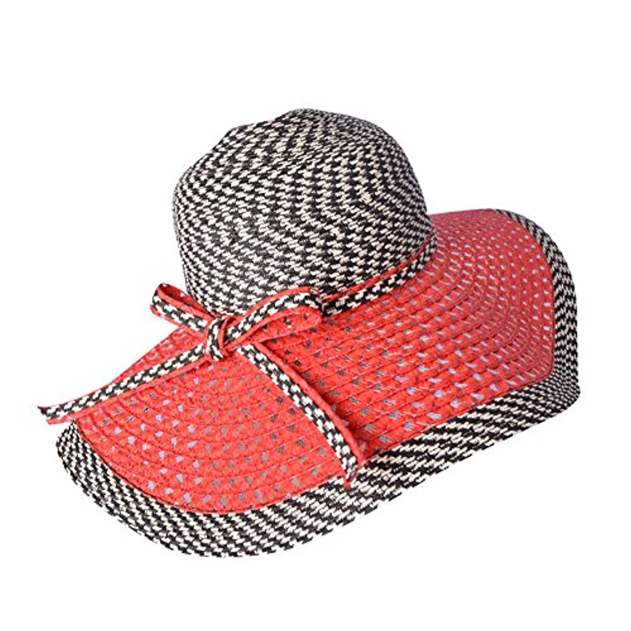ホーンアクチュエータメルボルンWomen 's Braid Straw Wide Brim Fedora帽子UPF 50 +サマービーチキャップ