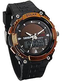 JewelryWe ソーラー 腕時計 スポーツウオッチ アナデジ表示 多機能 5ATM防水 通勤&通学 誕生日 プレゼント ゴールド