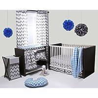 Ikat Blue/Grey 6 Crib Set with 4 Muslin Blankets by Bacati [並行輸入品]