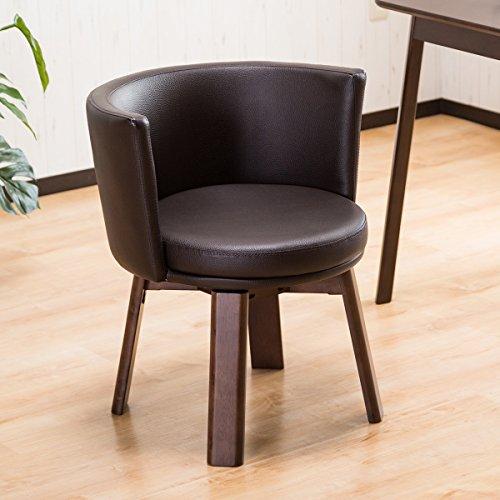 【家cafeスタイル 北欧風ダイニングチェアー】 丸い円が包む背面部 回転式クッションチェア 落ち着ける全面クッション 円形椅子 肘置きになるリラックスチェア 使いやすいミドルバックタイプ ダークブラウン色