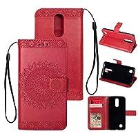 OMATENTI LG K8 2017 ケース, ビジネス PU レザー 財布型 耐衝撃性 ケース, マグネット開閉式 軽量 簡約風 人気カバー 付き スタンド機能 そして カード収納 LG K8 2017 用 Case Cover, 赤