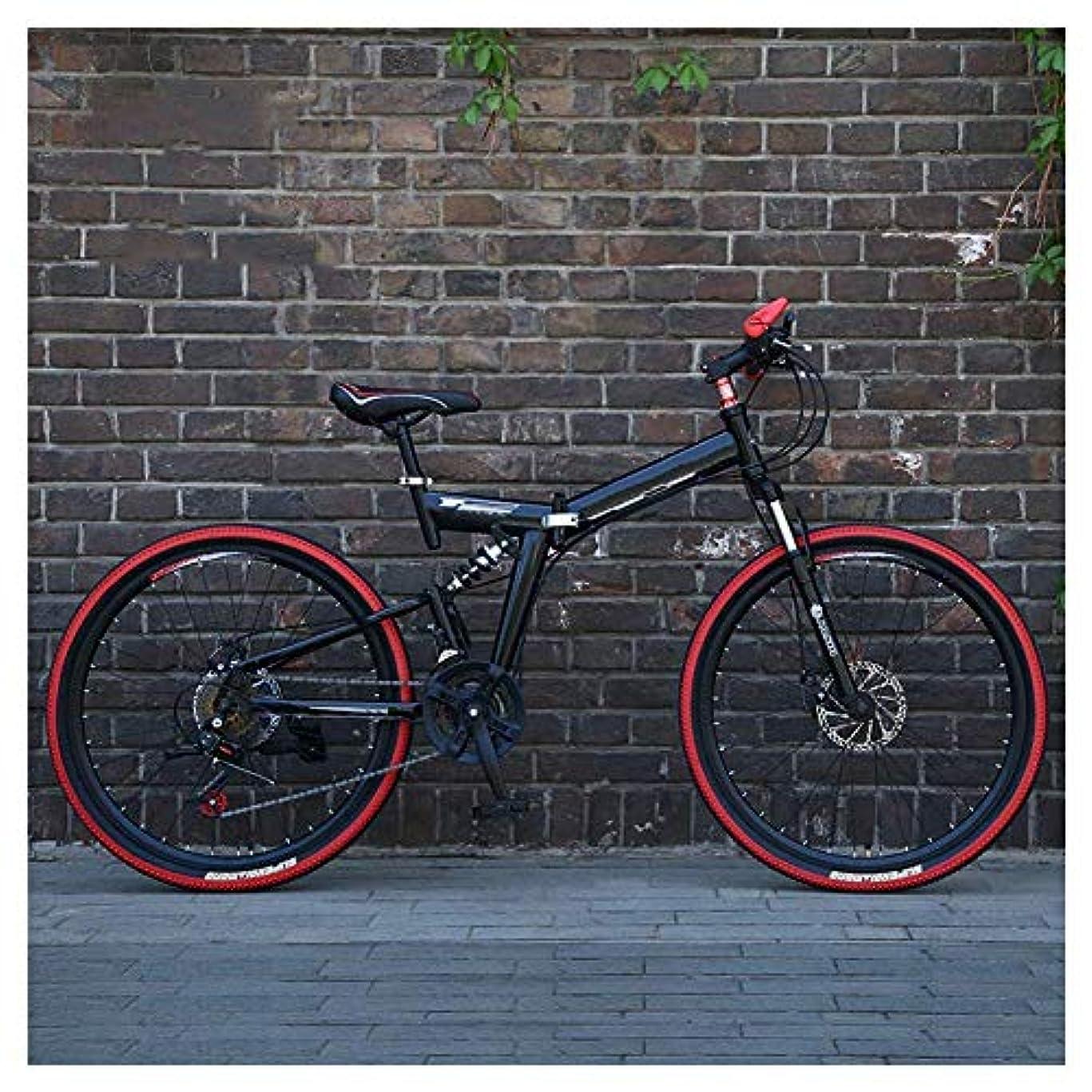 明らかにトマト医療過誤XUXUWA アウトドアスポーツダブルディスクブレーキ、ユニセックスで26インチのマウンテンバイク、高炭素鋼折りたたみフレーム、デュアル懸濁液、27スピード、 (Color : Black)