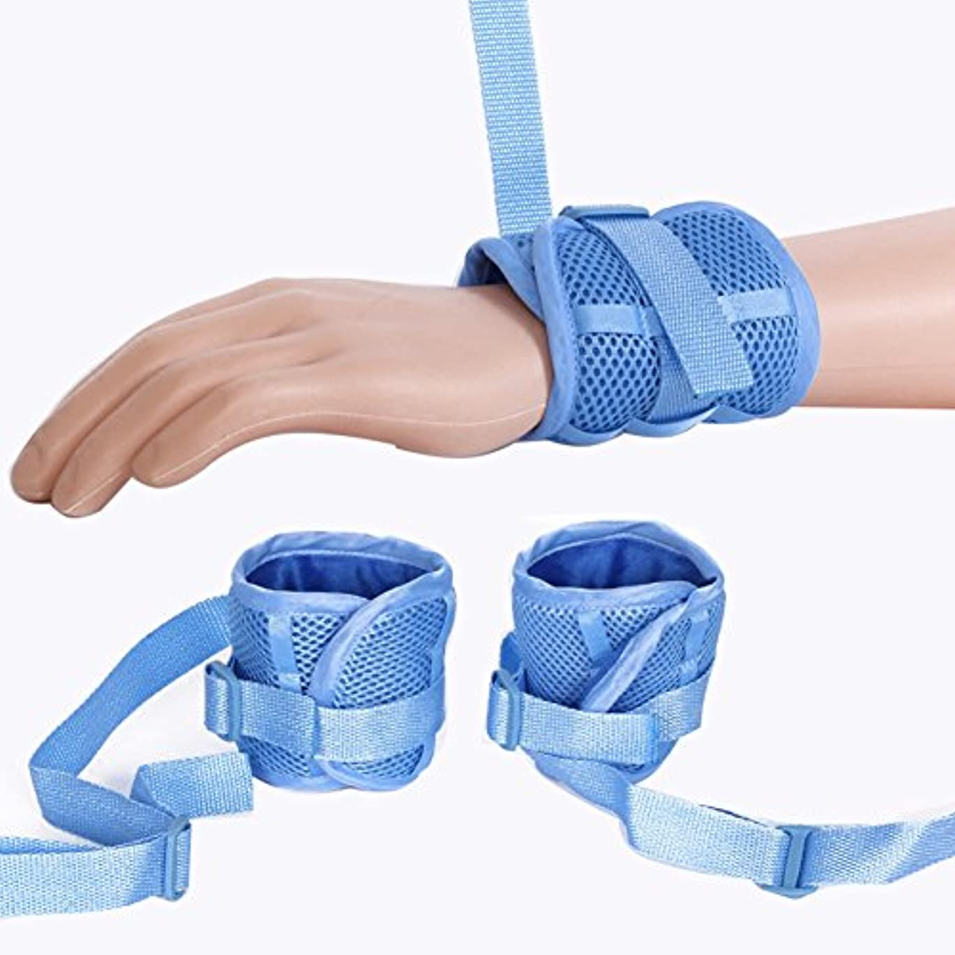 ばか間違っている自殺コントロール?マット医療用拘束具患者の手の感染用具防護用具ユニバーサル?コントロール防御用固定手袋 - 青色1組