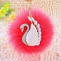 Dalino ファッションとパーソナリティ 白鳥 メタル プラッシュボール キーチェーン ペンダント プラッシュドール キーリング キーチェーン (スイカレッド)