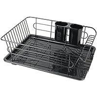 パール金属 食器 水切り かご 水が流れる トレー付 ヨコ置き タイプ ブラック 黒 アルデオ HB-3467
