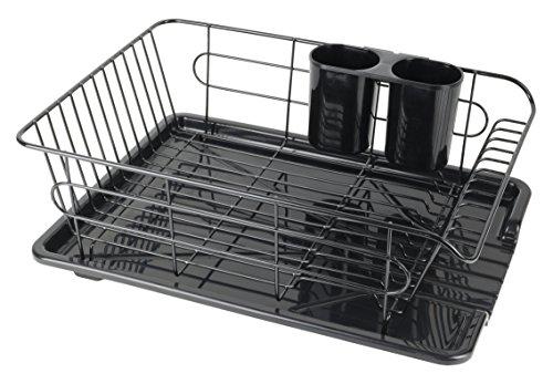 【Amazon.co.jp限定】パール金属 食器 水切り かご 水が流れる トレー付 ブラック アルデオ HB-3467