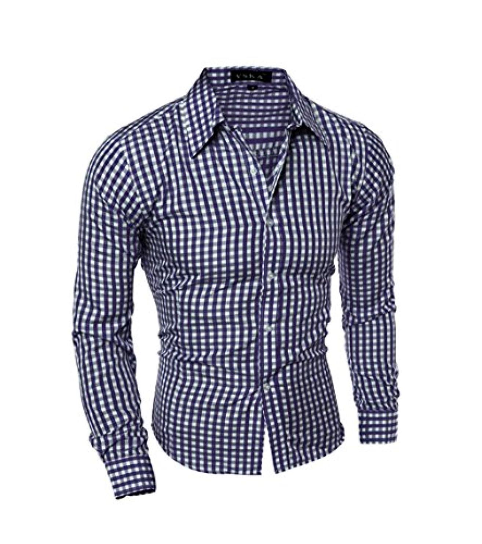 座るただビタミンHonghu メンズ シャツ 長袖 6色 スリム チェック柄 ネイビー L 1PC