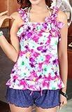【ファシナート】タンキニ ビキニ4点セット ブラ ショーツ ワンピース パンツ かわいい 高品質 モテ (L ラージ エル, 紫 パープル)