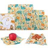 WRAPOK Reusable Beeswax Food Wrap Eco Friendly Plastic Free Food Storage Cover - 4 Pack (1 Large, 2 Medium, 1 Small)