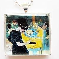 音楽I 1895by Gustav Klimtガラスタイルペンダントネックレス