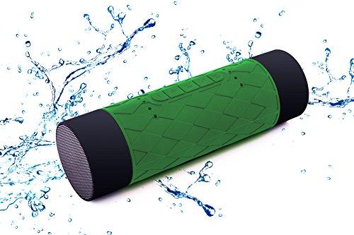 防水Bluetoothスピーカー KIROBO ポータブルワイヤレススピーカーIP65防水認証 5200mAhモバイルバッテリー機能 デュアルドライバー搭載 TFカード ハンズフリー通話機能 iPhone7/7Plus/SE/6s/6sPlus・スマートフォン(スマホ)・iPad対応 お風呂・キッチン・アウトドアで使用可能 green