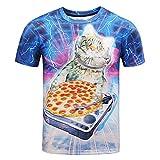 男性 Tシャツ、三番目の店 メンズ 夏 カジュアル 面白い 猫 3Dプリント 半袖 Oネック Tシャツ トップス ブラウス