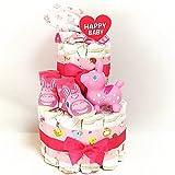 a11 おむつケーキ2段 女の子 ロディ水鉄砲とスタイ 即納オムツケーキ ベビーソックス 出産祝い