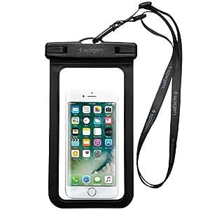 防水ケース 水深25mまで iphone Android 6インチまでのスマホに対応 スマホ用 防水ポーチ【Spigen】 (A600, ブラック)