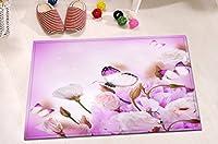 LBホワイトバタフライonピンクローズフラワーブーケSmall Bathラグのバックアップのバスルーム、非スリップソフトフランネル、花柄インテリアラグ15x 23インチ