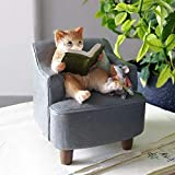 桜の雪 創意 本を読む 猫 ネズミ 置物 玄関小物 飾り物 プレゼント