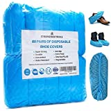 Strongman Tools   120 Pack (60 Pairs) Extra Thick Disposable Shoe & Boot Covers   Durable & Water Resistant   Anti-Slip   One