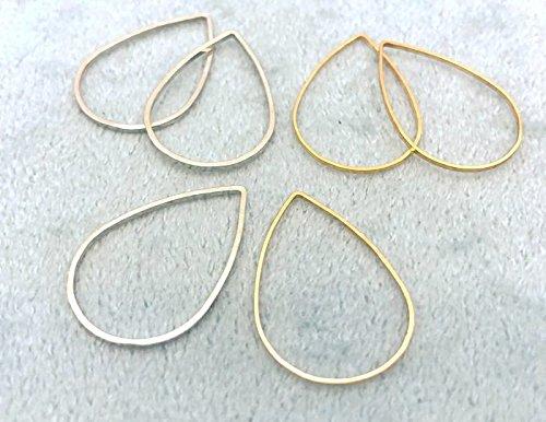◆ フレームパーツ しずく形 25*17mm 20個入り 真鍮製 フレーム アクセサリー金具 枠 雫形 ニッケルシ...