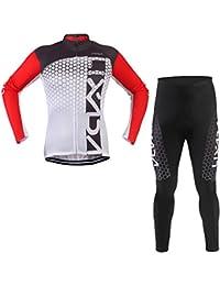 Lixada サイクルジャージ サイクリングウェア 長袖 上下セット 反射 自転車ウェア 通気性 男女兼用
