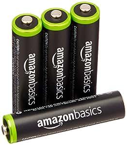 Amazonベーシック 充電式ニッケル水素電池 単4形4個パック (最小容量750mAh、約1000回使用可能)