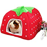 "FLAdorepet Rabbit Guinea Pig Hamster House Bed Cute Small Animal Pet Winter Warm Squirrel Hedgehog Chinchilla House Cage Nest Hamster Accessories (9"" 9"" 10"", A-Red)"