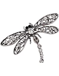 Christineen Jewellery Women's Crystal Dragonfly Stretch Ring Scarf Ring Buckle Clip