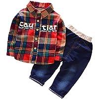 Chumhey Baby & Toddler Boys Plaid Shirt Elastic Jeans Pants Set