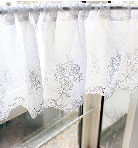 WPKIRA 1枚 綿 カフェカーテンホワイト 刺繍入り キッチン 仕切り チュール レース カーテン キッチン用ドアまたはルームディバイダ 幅100cmx丈30cm
