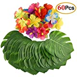 Mandy's 60PCS party supplies 8 palm leaves and Hibiscus Flowers for Hawaiian Luau Party Jungle Beach Decorations [並行輸入品]