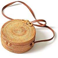 YOUTH UNION Handwoven Round Bali Rattan Bag Straw Bag Leather Crossbody Shoulder Strap Handbag for Women