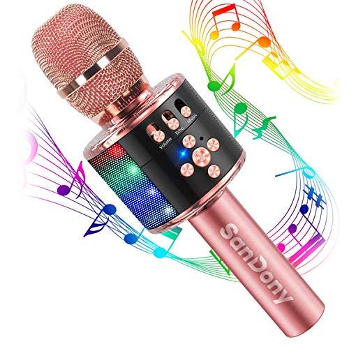 【2019最新版】 カラオケマイク bluetooth ポータブルスピーカー ワイヤレスマイク 高音質 カラオケ機器 音楽再生 ノイズキャンセリング LEDライト付き 大容量 2800mAh TFカード機能 録音可能 Android&iPhoneに対応 (ローズゴールド)