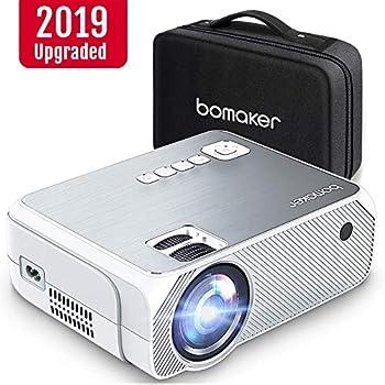 BOMAKER プロジェクター 小型 3600lm 1080PフルHD対応 LED データプロジェクター スピーカーが二つ内蔵 スマホ/パソコン/タブレット/ゲーム機/DVDプレイヤー/USBなどに対応 標準的なカメラ三脚に対応 HDMIケーブル付属 収納バッグ付き