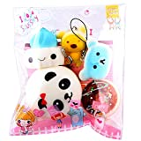 nmch 5点ソフトMedium Mini Soft Squishy Bread ToysキーRelieve Stress Toy 14*12cm マルチカラー Nm-JL-01