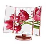 HONESTEAST 三面鏡 led化粧鏡 スタンドミラー 女優ミラー 2倍&3倍拡大鏡付き 調光可能 角度調整可能 ローズゴールド