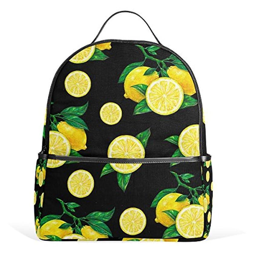 外出かすかなレコーダーマキク(MAKIKU) リュック レディース おしゃれ リュックサック 軽量 大容量 通学 高校生 中学生 小学生 旅行 プレゼント対応 レモン柄 果物テーマ ブラック/イエロー