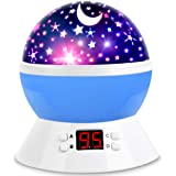 [Upgrade] MOKOQI Rotating Star Sky Projection Night Lights Toys Table Lamps with Timer Shut Off & Color Changing for 1 Year O