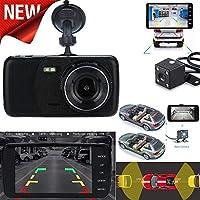 Quaanti 車載DVR 4インチ LCD IPS デュアルレンズ 車ダッシュカム FHD 1080P ダッシュボードカメラ 170 ドライビング DVR カムレコーダー ダッシュボード ブラック Quaanti