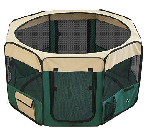 ottostyle.jp 折りたたみ八角形ペットサークル Lサイズ グリーン (約)114cm×62cm 【折りたたみ簡単!急な来客時やアウトドアに】