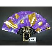 M614 舞扇子 金箔色紙砂子 紫べたシルバーピース