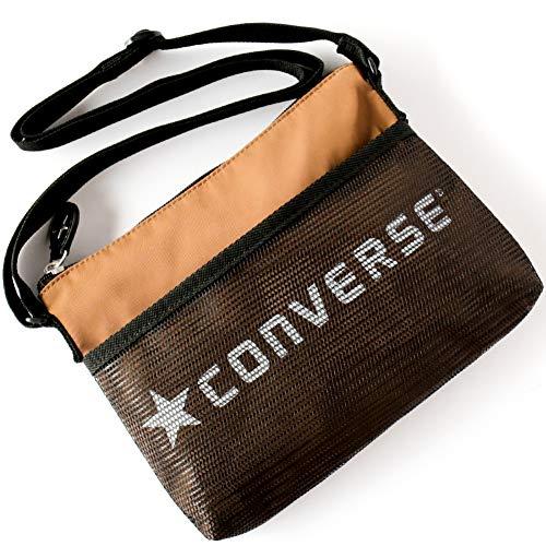 CONVERSE (コンバース) クラシック サコッシュ dwearsステッカー入り ショルダーバッグ ポーチ トラベル 旅行 バッグ ミニ ショルダー 東京 TOKYO (フリーサイズ, ブラウン)
