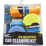 FANCYLEO 9 Pack Car Cleaning Tools Kit, Car Cleaning Cloths/Polish Application Pads/Microfiber Wash Gloves/Car Washing Sponge/Microfiber Wheel Brush, Random Color
