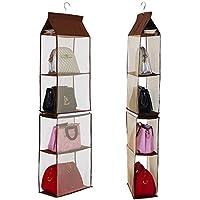 DEWEL 収納ラック 収納袋  整理袋 収納ボックス 収納棚  布製 分けて使える 吊り下げる 4段式&2段式 不織布材料 壁掛け 折りたたみ カバン ステンレス鋼 衣類  整理 整頓 3色選択可能    (コーヒー色)