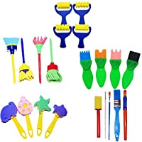 TOYANDONA 21Pcs Kids Painting Brushes Kits DIY Foam Brushes Tool Kit Sponge Paint Brushes Craft Stamps Drawing Tools for Kids Toddlers Art Supplies Gifts