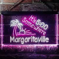 It's 500 Somewhere Margaritaville LED看板 ネオンサイン バーライト 電飾 ビールバー 広告用標識 ホワイト+パープル W30cm x H20cm