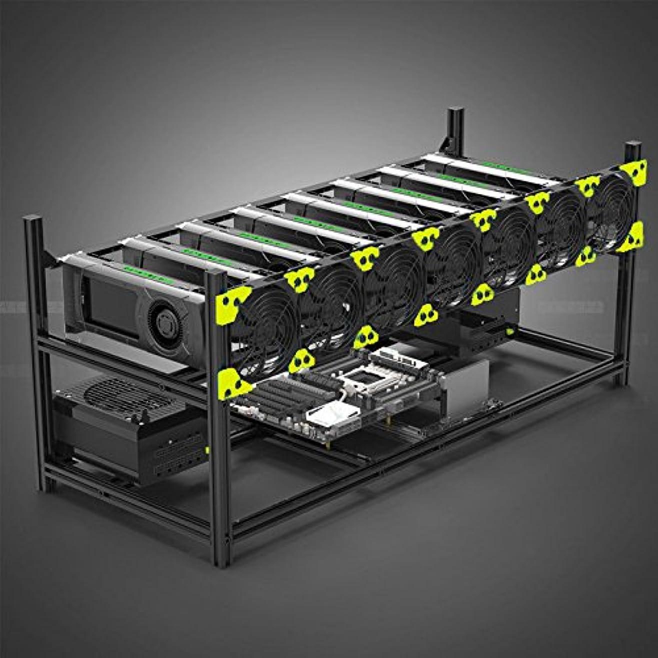 減衰洞窟ロッカー8 GPUマイナーマイニングリグアルミスタッカブル野外マイニングケースコンピュータETHフレームリグ用bitconマイナーキット未組み立てEthereum