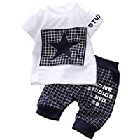 Canis Baby Boys' 2 Piece Star T-Shirt Top Short Pants Outfit Set